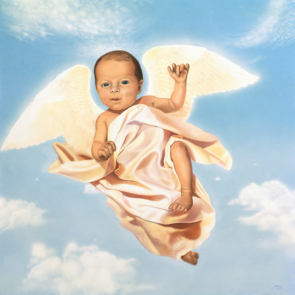 "©1980, Baby Angel, 24x24"", oil"