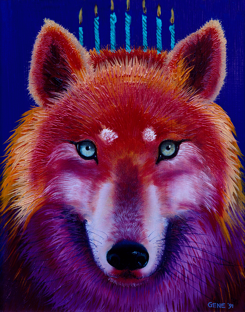 "©1991, Birthday Wolf, 8x10"", oil"