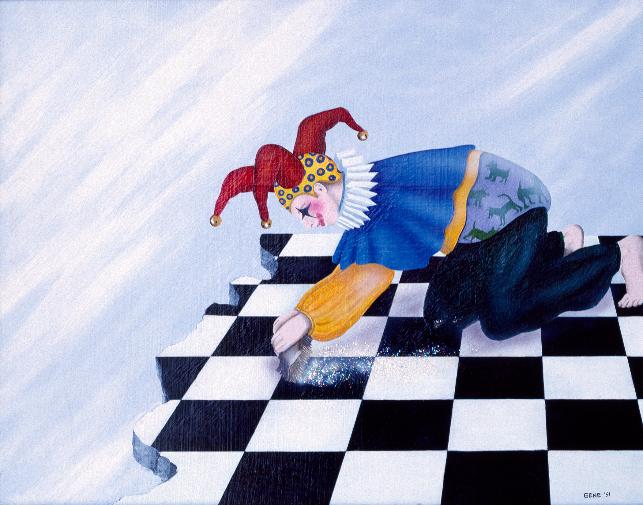 """©1991, Scrubbing Woman, 11x14"""", oil"""