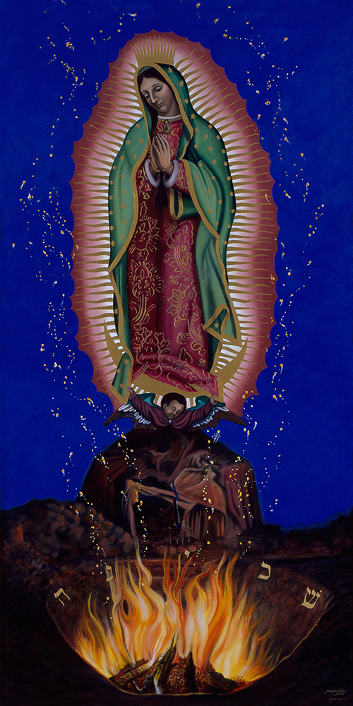 "©1994, Guadalupe Above the Fire, 24x48"", oil"