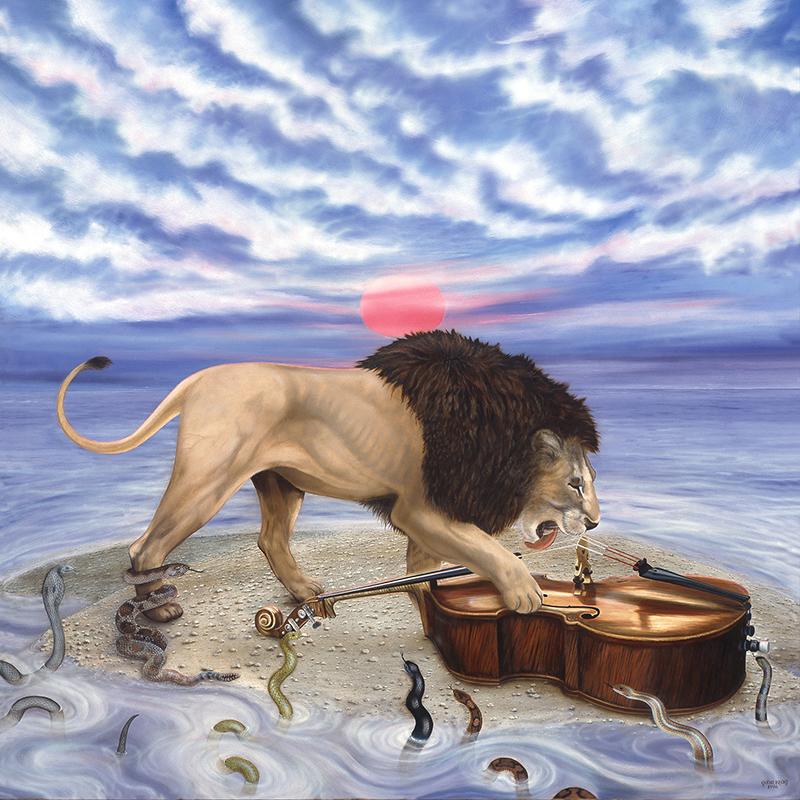 """©1996, Lion & Bach, 36x36"""", oil"""