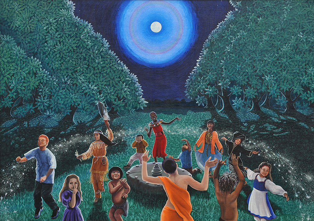 "©2000, Moon Dance, 35.5x49"", oil"