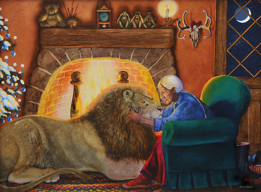 "©2001, Christmas Lion By the Fireside, 18x24"", oil"