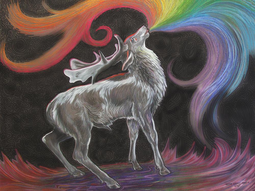 "©2003, Deer Singing, 24x32"", pastel"