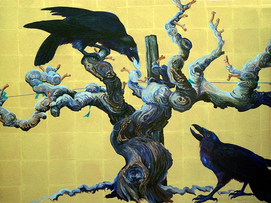 """©2005, Ravens in Vineyard, 18x24"""", oil"""