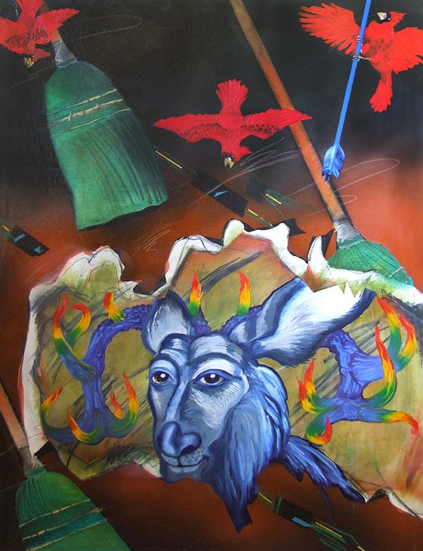 """©2009, Memphis Blue Deer, 35x50"""", oil"""