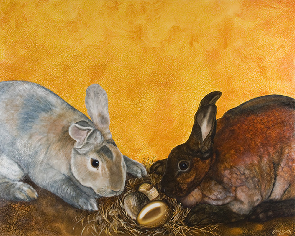"""©2010, Bunnies with eggs, 18x24"""", oil"""