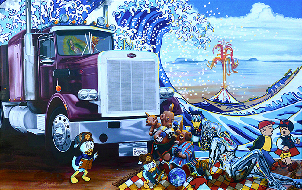"©2012, The Road Goes on Forever and the Party Never Ends, 30x48"", oil"