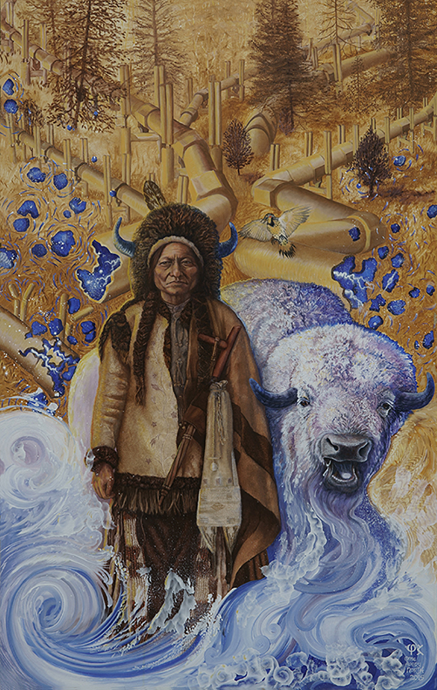 """©2015, Water is Life,Sitting Bull, 30x48"""", oil"""