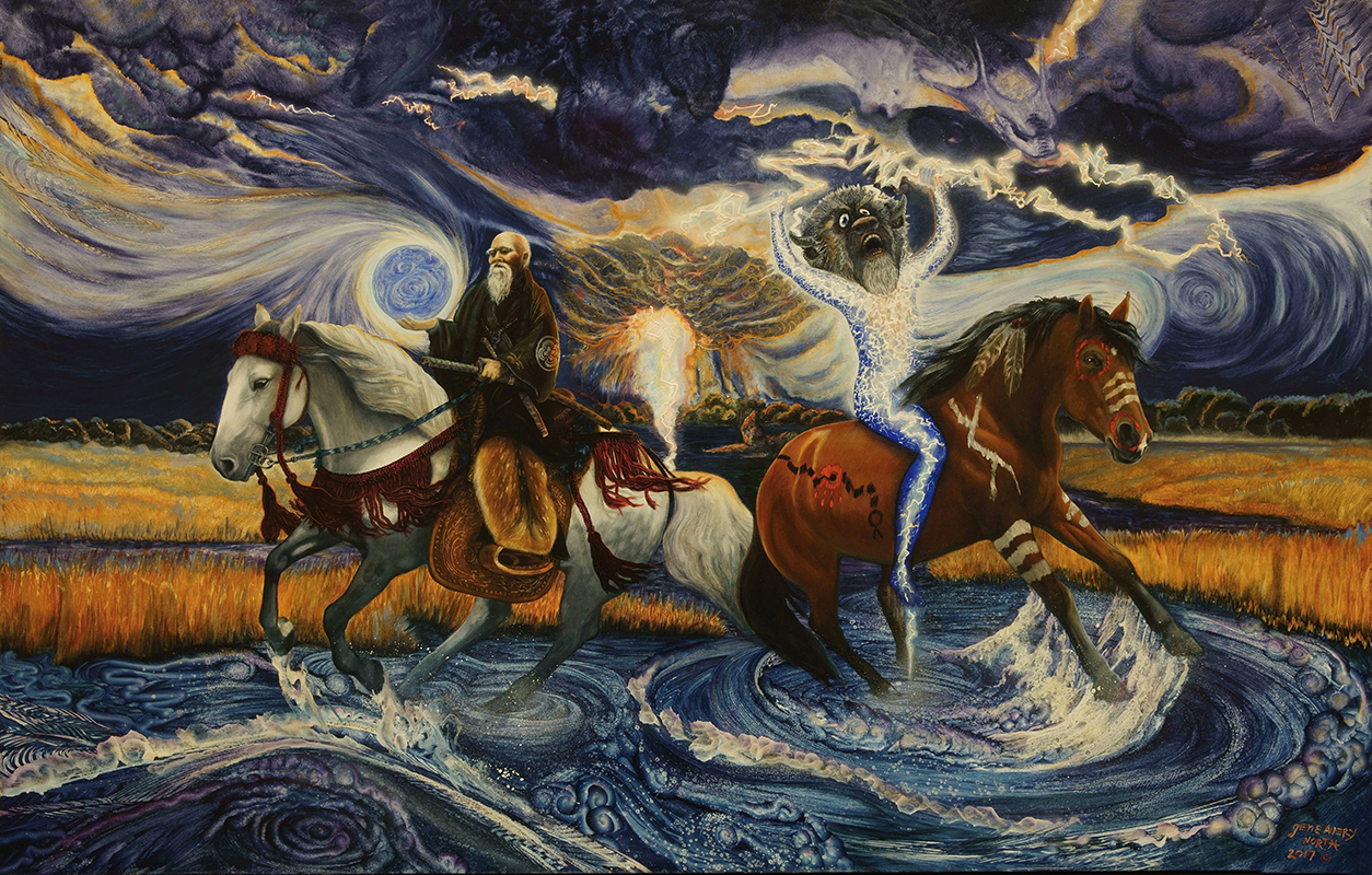 ©2017 Mother Earth Sends Her Thunder Warriors to Care for Her Waters, 30x48 oil