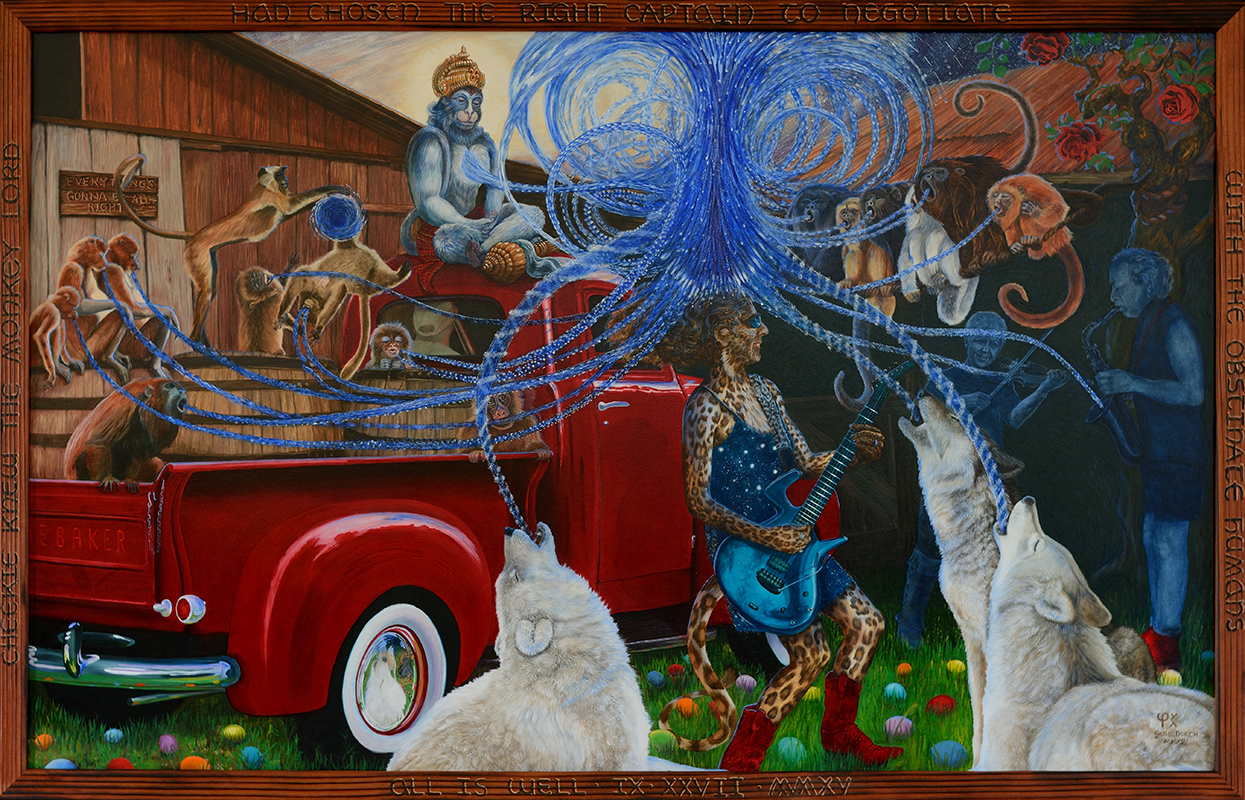 """©2014, Cheeky Knew the Monkey Lord Had Chosen the Right Captain to Negotiate with the Obstinate Humans, 30x48"""", oil"""